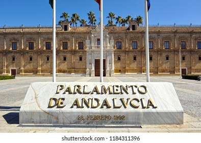 Seville, Spain - Jul 1, 2012: The Parliament of Andalusia, government of the autonomous community of Andalusia located in the old Hospital of the Five Sores (Hospital de las Cinco Lagas)