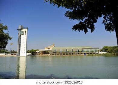 Seville, Spain - Jul 27, 2011: Pabellon de la Navegacion (Pavilion of Navigation) and Schindler Tower designed by Guillermo Vazquez Consuegra for the Universal Exhibition of Seville - Expo 92.
