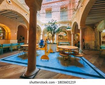 SEVILLE, SPAIN - Jul 30, 2020: EL PINTON restaurant hall in Seville