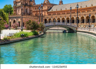 SEVILLE - SPAIN JULY - 28 - 2018: Plaza de Espana square designed by Anibal Gonzalez  in Art Deco and Neo-Mudejar style.