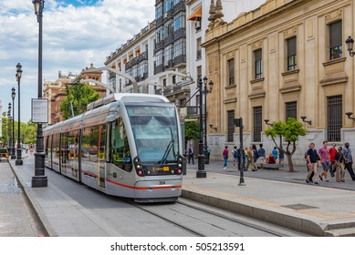 SEVILLE, SPAIN - JULY 7: MetroCentro tram system in Seville, Spain on July 7, 2016. Seville is the capital and largest city of the province of Seville, Spain.