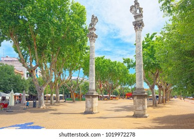 Seville, Spain - June 08, 2017 : Column Alameda de Hercules in downtown of the city Seville - is the largest city of the autonomous community of Andalusia, Spain.