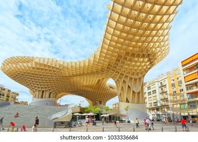 Seville, Spain - June 08, 2017 : Metropol Parasol is a wooden structure located at La Encarnacion square, in the old quarter of Seville, Spain.