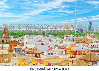 Seville, Spain - June 08,2017: Panoramic view of the city of Seville from the observation platform Metropol Parasol, locally also known as Las Setas. Spain.