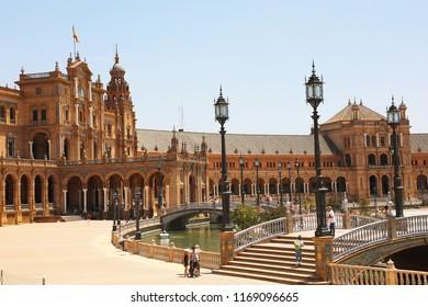 SEVILLE, SPAIN - JUNE 14, 2018: Spain Square (Plaza de Espana) i