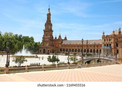 SEVILLE, SPAIN - JUNE 14, 2018: Spain Square (Plaza de Espana)