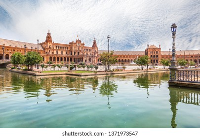 Seville, Spain - June 21, 2018: Spain Square in Seville in Maria Luisa Park built in 1928 for the Ibero-American Exposition of 1929, Andalusia, Spain.