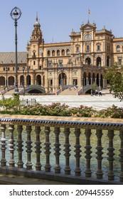 Seville, Spain - June 29: The famous Plaza de Espana in Seville, Spain on June 29, 2014. The Plaza is a major tourist attraction, built in 1928.
