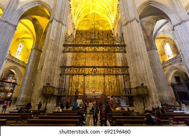 SEVILLE, SPAIN, March 16, 2017: Interior of the Cathedral of Saint Mary of the See in Seville, Andalusia, Spain