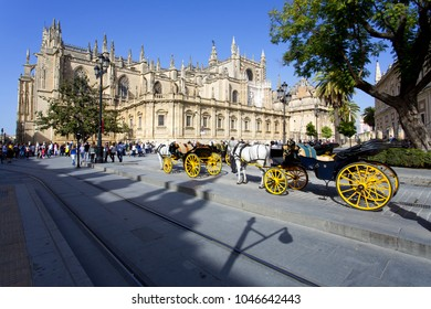 SEVILLE, SPAIN, March 18, 2017: The Cathedral of Saint Mary of the See in Seville, Andalusia, Spain