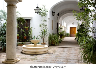 SEVILLE, SPAIN, March 18, 2017: Beautiful view of a traditional patio in Seville, Andalusia, Spain