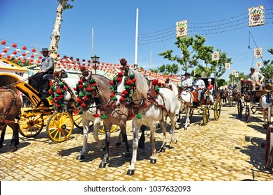 Seville, Spain - May 08, 2014: A horse carriage in Seville Fair (Feria de Sevilla), Andalusian horses at the April Fair,  Andalusia, Spain
