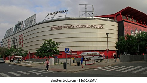 Seville, Spain - May 10, 2018: people are walking at The Ramon Sanchez Pizjuan Stadium in Seville