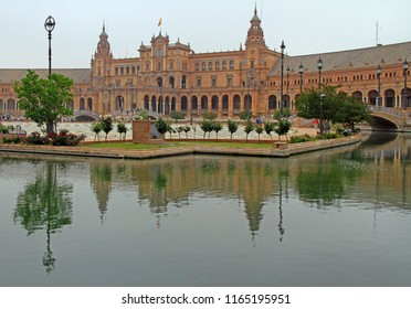 Seville, Spain - May 10, 2018: Spain Square or Plaza de Espana in Seville, Spain