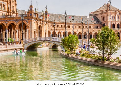 Seville, Spain, May 12. 2011: View of the canal and palatial buildings in Plaza de Espana, Seville, Spain.