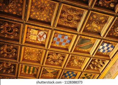Seville, Spain - May 27, 2012: Coffered wooden ceiling in Pilato's House (Casa de Pilatos), one of the main palaces of Seville.  Andalusia, Spain