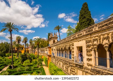 Seville Spain May 8th 2019 View of Real Alcazar's Galeria de Grutesco the Royal Palace Sevilla Spain.