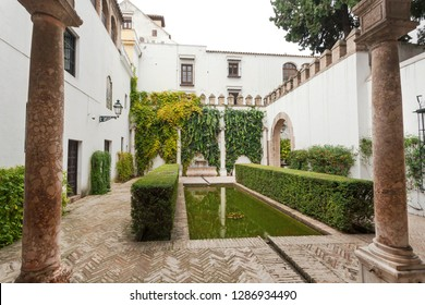 SEVILLE, SPAIN - NOV 15: Green courtyard of Alcazar, example of Mudejar architecture of the 14th century, historical royal palace on November 15, 2018. UNESCO World Heritage Site