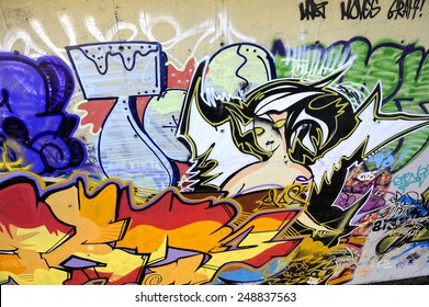 SEVILLE, SPAIN - NOVEMBER 08: Graffiti under the Cristo de la Expiracion bridge on November 08, 2009 in Seville, Andalusia, Spain, Europe