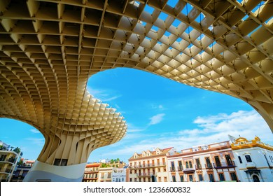 Seville, Spain - November 13, 2018: Metropol Parasol in Seville. It is a wooden structure designed by Juergen Mayer, with dimensions 150 by 70 meters and 26 meters high