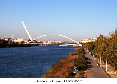 SEVILLE, SPAIN - NOVEMBER 15, 2008 - View of the Barqueta bridge (Puente de la Barqueta) over the Guadalquivir river, Seville, Seville Province, Andalusia, Spain, Europe, November 15, 2008.