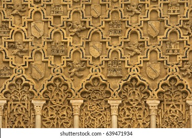 SEVILLE, SPAIN - NOVEMBER 22, 2017: Detail of the  facade in the Patio de la Monteria of the Royal Alcazar of Seville.