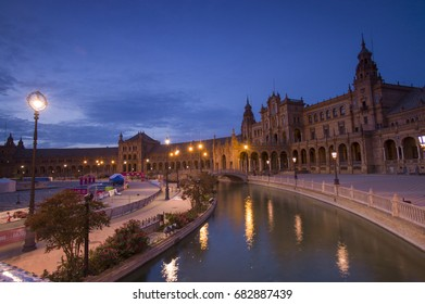 SEVILLE, SPAIN - OCT 3: Plaza de Espana illuminated at night in Parque de Maria Luisa, in Seville, Spain on October 3 2015