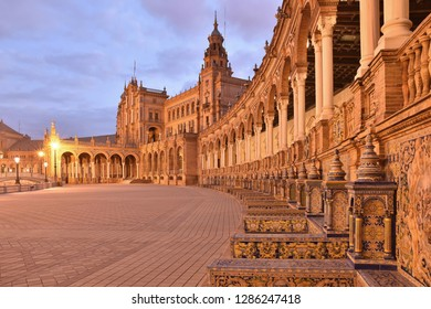 Seville, Spain - October 16, 2016: Plaza de Espana - Renaissance and Moorish Revival style landmark architecture at dawn. Located in Maria Luisa Park. Seville Andalusia Spain Europe.