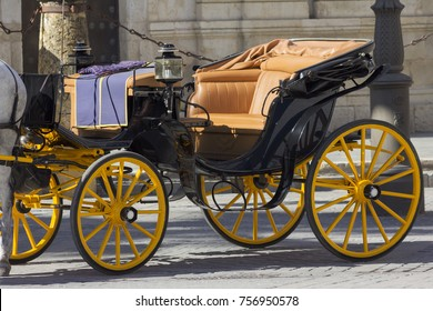 Seville, Spain, October 22,2017:horse-drawn carriage typical of Seville, Spain
