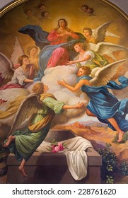 SEVILLE, SPAIN - OCTOBER 28, 2014: The neo - baroque fresco of Assumption of Virgn Mary in the presbytery of church Capilla Santa Maria de los Angeles by Rafael Rodriguez Hernandez from 20 cent.