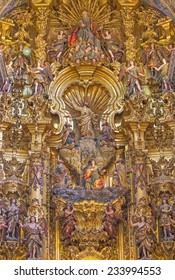 SEVILLE, SPAIN - OCTOBER 28, 2014:  The central part of main altar (1770 - 1778) by Cayetano de Acosta in baroque Church of El Salvador (Iglesia del Salvador).