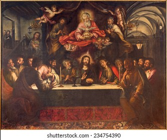 SEVILLE, SPAIN - OCTOBER 28, 2014: The paint of Last supper on the main altar by Lucas Valdes from 17. cent. in baroque church Hospital de los Venerables Sacerdotes.