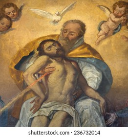 """SEVILLE, SPAIN - OCTOBER 28, 2014: The detail of Holy Trinity from paint """"Souls""""  in church Iglesia de San Roque by unknown baroque painter."""