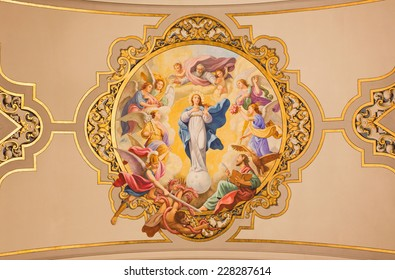 SEVILLE, SPAIN - OCTOBER 29, 2014: The fresco Virgin Mary as Immaculate conception on the ceiling in church Basilica de la Macarena by Rafael Rodrguez (1949) in neobaroque style.