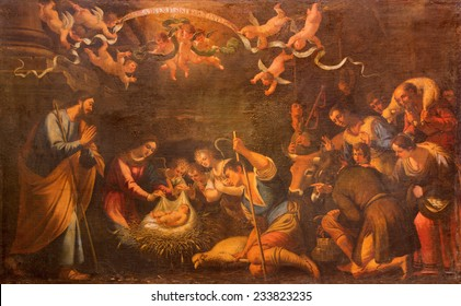 SEVILLE, SPAIN - OCTOBER 29, 2014: The Adoration of shepherds paint in church Iglesia de la Annunciation by unknown painter.