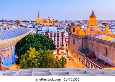 Seville, Spain. Old Town skyline at dusk.