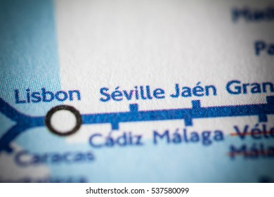 Seville, Spain on a geographical map.