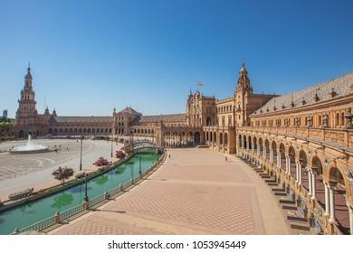 Seville Spain and plaza de espana in summer