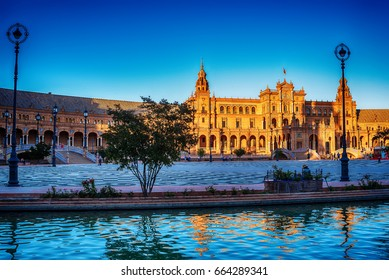 Seville, Spain: The Plaza de Espana, Spain Square in sunset