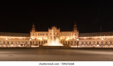 Seville Spain - Plaza d'espana at night with lights and reflections
