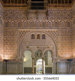 SEVILLE, SPAIN - SEPTEMBER 1: Interior of the wealthy decorated Real Alcazar, a royal palace, on September 1, 2015 in Seville, Spain.