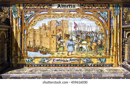SEVILLE, SPAIN - September 13, 2015: The Provincial Alcove of Almeria depicting the conquest of Almeria at Plaza de Espana, on September 13, 2015 in Seville, Spain