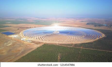 SEVILLE, SPAIN - SEPTEMBER 28, 2018. Aerial view of Gemasolar Thermosolar Power Plant