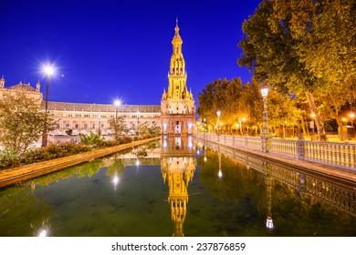 Seville, Spain at Spanish Square (Plaza de Espa?a).