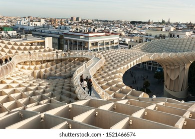 Seville-Andalusia-Spain, December 12. 2015: Panoramic view of the city Seville and Metropolitan Parasol building. Seville's Plaza de la Encarnación is home to Metropol Parasol, also known as the