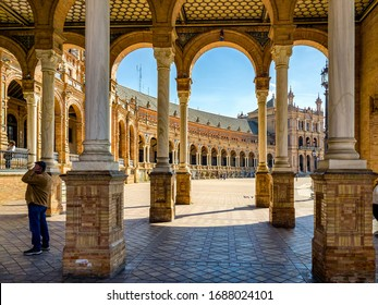 Seville/Spain - February 26, 2020 - Plaza de España just before the coronavirus epidemic. This is also the time when Andalusia Day is celebrated.