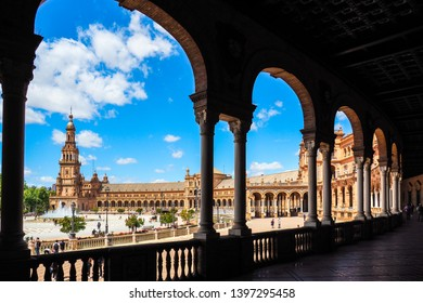Seville,Spain-April 11,2019: A beautiful view of Plaza De Espana, Seville, Spain in sunny day