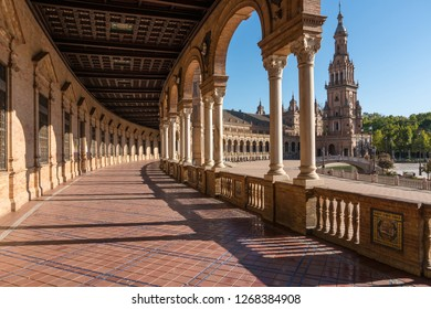 Seville,Spain-august 8,2017:particular of the famous plaza de Espana in Seville during a sunny day