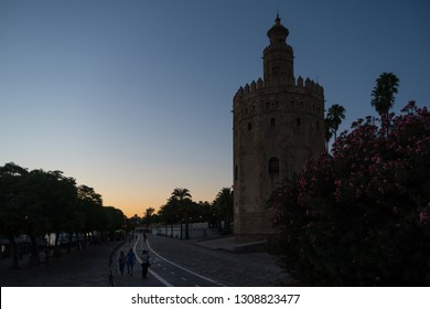 Seville,Spain-august 8,2017:viwe of the Gold tower in Seville during a sunset