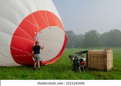 Sevlievo,Bulgaria,11th July 2018 Pre flight balloon saftey checks and balloon flight in Bulgaria